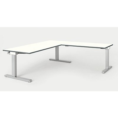 mauser Schreibtisch, verkettet - BxT 1800 x 800 mm, Winkelansatz rechts (Breite 1200 mm)