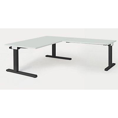 mauser Schreibtisch, verkettet - BxT 1600 x 900 mm, Winkelansatz rechts (Breite 1200 mm)