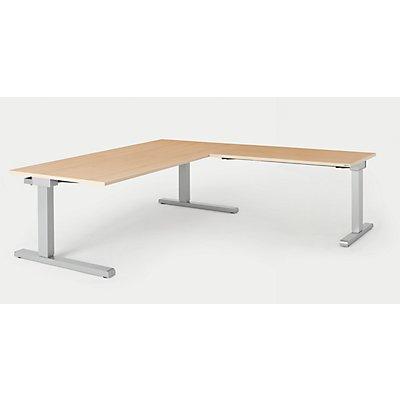 mauser Schreibtisch, verkettet - BxT 1800 x 900 mm, Winkelansatz rechts (Breite 1200 mm)
