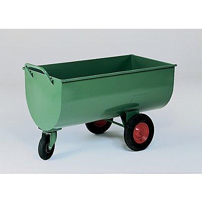 Muldenwagen, 600 l - Luftgummireifen, Höhe ohne Schiebebügel 885 mm
