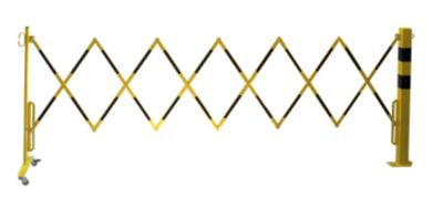 Sperrpfosten mit Scherengitter - Vierkantrohr 70 x 70 mm, zum Aufdübeln