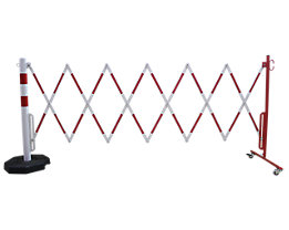 Sperrpfosten mit Scherengitter - Rundrohr Ø 60 mm, mit mobiler Fußplatte