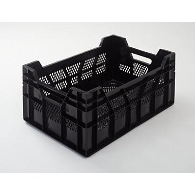 Caisse-palette en polyéthylène HD - L x l 600 x 400 mm, parois et fond ajourés - capacité 41 l