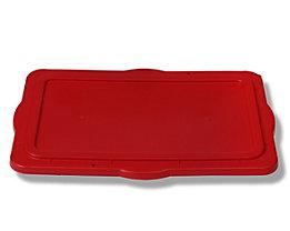 Couvercle de gerbage pour bac en plastique - en polyéthylène, fermeture hermétique - rouge