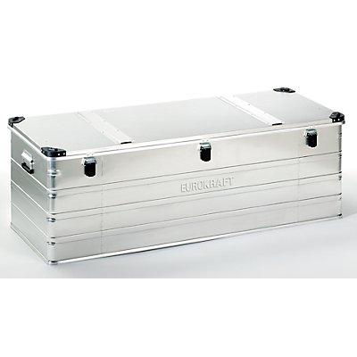 EUROKRAFT Aluminiumbehälter mit Stapelecken - Inhalt 400 l, LxBxH 1532 x 585 x 515 mm
