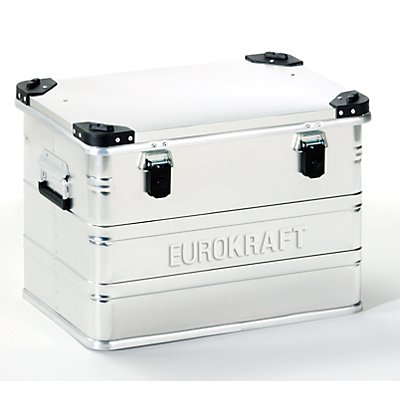 EUROKRAFT Aluminiumbehälter mit Stapelecken - Inhalt 76 l, LxBxH 592 x 388 x 409 mm