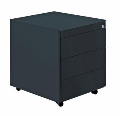 Mauser Schubladencontainer mit Rollen - HxT 570 x 600 mm, Stahlplatte, 3 Schubladen