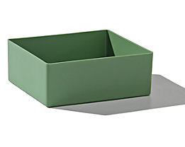 Einsatzkasten, Sondergröße - Polystyrol, VE 50 Stk - LxBxH 130 x 115 x 50 mm, grün