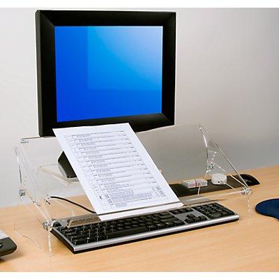 Dataflex Dokumentenhalter ERGODOC® - höhenverstellbar 160 – 235 mm, Acryl transparent