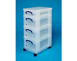 Rollturm mit 4 REALLY USEFUL BOXEN - 3 x 9 l, 1 x 4 l