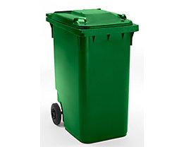 Großmülltonne aus Kunststoff, nach DIN EN 840 - Volumen 360 l, HxBxT 1100 x 600 x 874 mm, Rad-Ø 200 mm - grün, ab 5 Stk