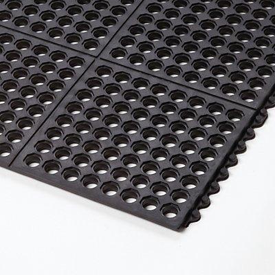 Système emboîtable en caillebotis, caoutchouc naturel, perforé - L x l x h 910 x 910 x 19 mm - noir