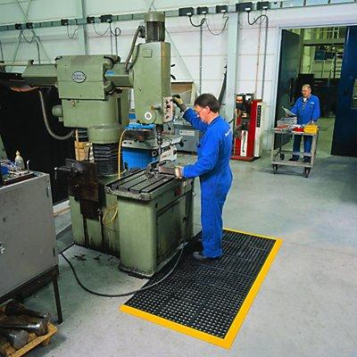 Système emboîtable en caillebotis en caoutchouc-nitrile - L x l x h 910 x 910 x 19 mm - surface perforée