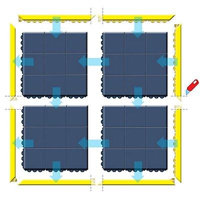 Bodenplatten-Stecksystem, geschlossen - LxBxH 910 x 910 x 19 mm - schwarz