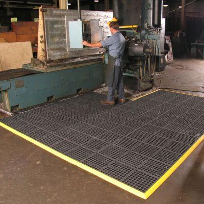 Bodenplatten-Stecksystem, feuerresistent - LxBxH 910 x 910 x 19 mm - gelocht