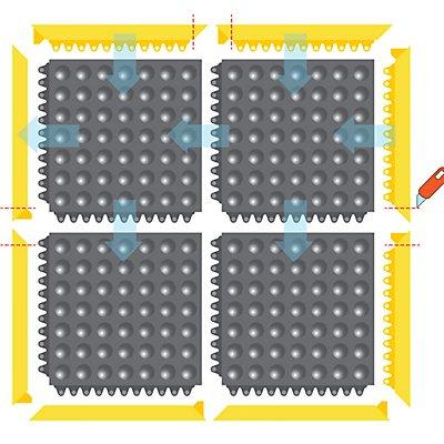 Système emboîtable en caillebotis, surface à bulles - L x l x h 910 x 910 x 13 mm - noir