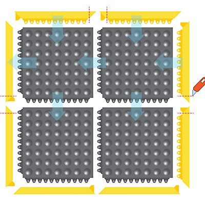 Notrax Bodenplatten-Stecksystem, Nitrilgummi, genoppt - LxBxH 910 x 910 x 13 mm - schwarz
