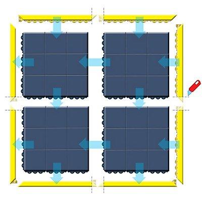Notrax Bodenplatten-Stecksystem, Naturgummi, ESD geschlossen - LxBxH 910 x 910 x 19 mm - schwarz