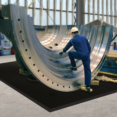 Bodenplatten-Stecksystem, schwarz - LxBxH 910 x 910 x 13 mm - Naturgummi