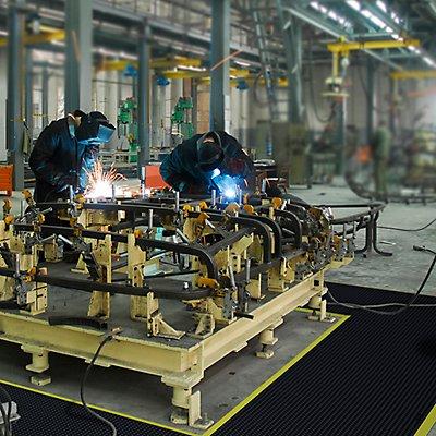 Système emboîtable en caillebotis, surface antistatique à bulles, résistant au feu - L x l x h 910 x 910 x 13 mm - noir, résistant au feu