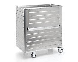 Alu-Kastenwagen, abklappbare Seitenwand - Außen-LxBxH 1280 x 730 x 1430 mm