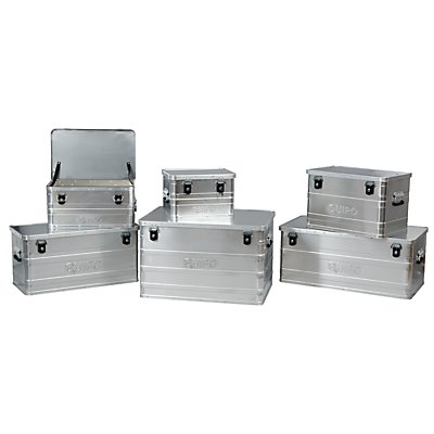 QUIPO Aluminiumbox ohne Stapelecken - Inhalt 47 l, Außen-LxBxH 580 x 380 x 275 mm