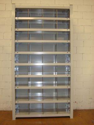 hofe Steckregal, leichte Ausführung, komplett aufgebaut - 10 Fachböden mit 45 Fächern - HxBxT 2000 x 1360 x 335 mm