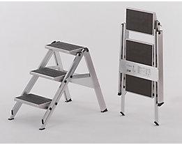 Alu-Klapptreppe - Stufen Alu mit PVC-Belag - ohne Sicherheitsbügel, 3 Stufen