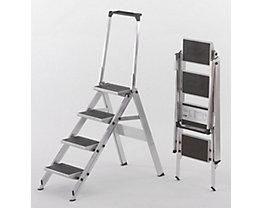 Alu-Klapptreppe - Stufen Alu mit PVC-Belag - mit Sicherheitsbügel, 4 Stufen