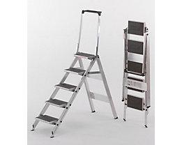 Alu-Klapptreppe - Stufen Alu mit PVC-Belag - mit Sicherheitsbügel, 5 Stufen