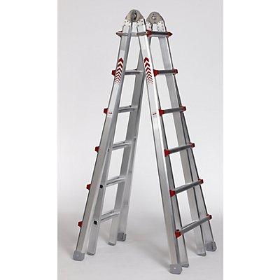 Teleskop-Klappleiter - Steh-, Anlege-, Schiebe- und Treppenleiter in Einem