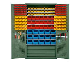 mauser Großraumschrank - 9 Fachböden, 146 Sichtlagerkästen, 3 Schubladen