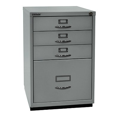 Bisley Schubladenschrank Serie F - 3 Universalschubladen, 1 HR-Schublade, Bügelgriff