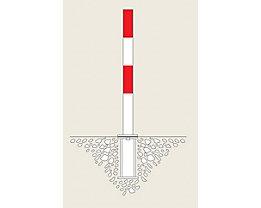 Sperrpfosten aus Stahl - zum Einbetonieren, Ø 76 mm - rot-weiß, 2 Kettenösen