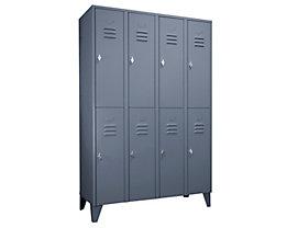 Wolf Stahlspind mit Stollenfüßen, Abteile horizontal geteilt - Vollwandtüren, Abteilbreite 300 mm - 8 Abteile, blaugrau