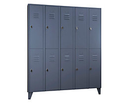 Wolf Stahlspind mit Stollenfüßen, Abteile horizontal geteilt - Vollwandtüren, Abteilbreite 300 mm - 10 Abteile, blaugrau