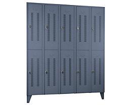 Wolf Stahlspind mit Stollenfüßen, Abteile horizontal geteilt - Lochblechtüren, Abteilbreite 300 mm - 10 Abteile, blaugrau