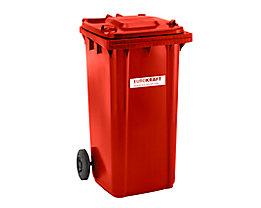 Großmülltonne aus Kunststoff, nach DIN EN 840 - Volumen 240 l, HxBxT 1067 x 580 x 730 mm - rot