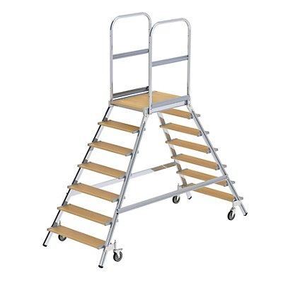 Günzburger Steigtechnik Podestleiter mit zweiseitigem Aufstieg - Plattform und Stufen aus Holz