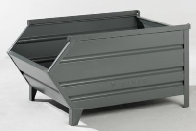 Heson Stapelbehälter aus Stahlblech, mit Entnahmeöffnung - LxB 1200 / 1000 x 800 mm