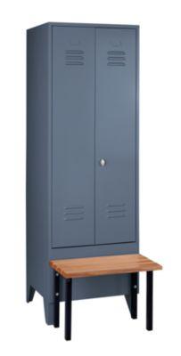 Wolf Kleiderspind mit vorgebauter Bank - Vollwand-Türen, Abteilbreite 600 mm, 1 Abteil