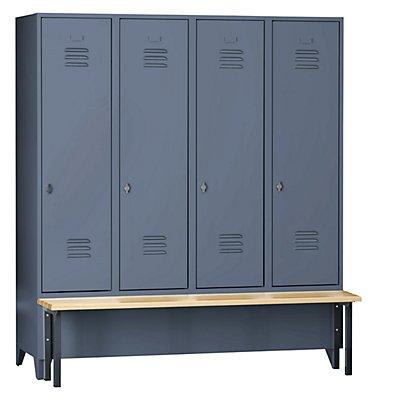 Wolf Kleiderspind mit vorgebauter Bank - Vollwand-Türen, Abteilbreite 400 mm, 4 Abteile