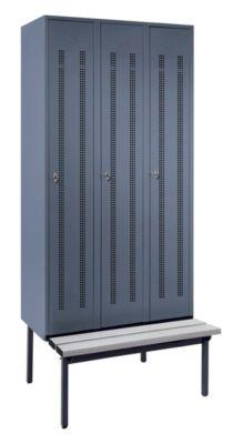 Wolf Kleiderspind mit untergebauter Bank - Lochblech-Türen, Abteilbreite 300 mm, 3 Abteile