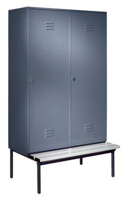 Wolf Kleiderspind mit untergebauter Bank - Vollwand-Türen, Abteilbreite 600 mm, 2 Abteile