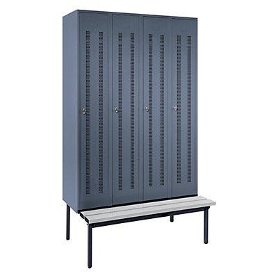 Wolf Kleiderspind mit untergebauter Bank - Lochblech-Türen, Abteilbreite 300 mm, 4 Abteile