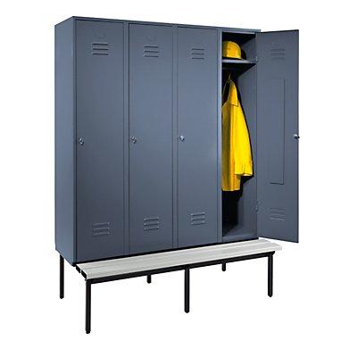 Wolf Kleiderspind mit untergebauter Bank - Vollwand-Türen, Abteilbreite 400 mm, 4 Abteile
