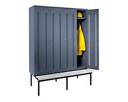 Wolf Kleiderspind mit untergebauter Bank - Lochblech-Türen, Abteilbreite 400 mm, 4 Abteile - blaugrau