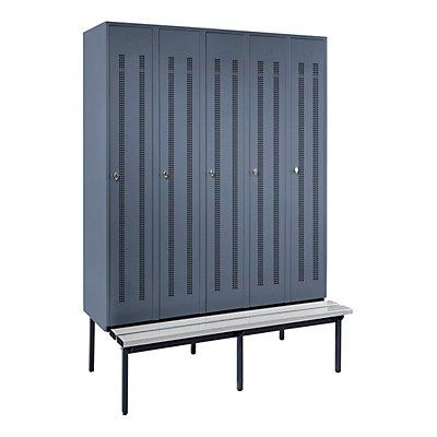 Wolf Kleiderspind mit untergebauter Bank - Lochblech-Türen, Abteilbreite 300 mm, 5 Abteile