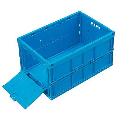 Faltbox aus Polypropylen - Inhalt 65 l, geschlossen mit stirnseitiger Entnahmeklappe, ohne Deckel