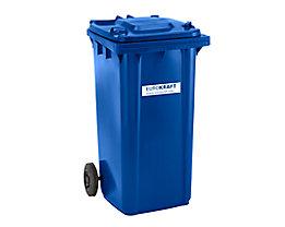 Großmülltonne aus Kunststoff, nach DIN EN 840 - Volumen 240 l, HxBxT 1067 x 580 x 730 mm - blau, ab 5 Stk